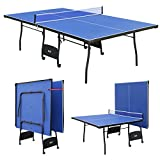 Blue Folding Full Size Table Tennis Table Professional Tournament Ping Pong Set with Net