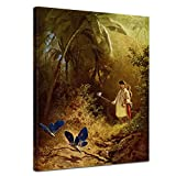 Bilderdepot24 Kunstdruck - Alte Meister - Carl Spitzweg - der Schmetterlingsfänger - 30x40cm Einteilig - Leinwandbilder - Bilder als Leinwanddruck - Bild auf Leinwand - Wandbild