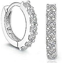 Sannysis Rhinestones perno prisionero del aro de diamante; Pendientes de plata de ley para la Mujer
