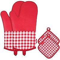 Guantes de Cocina para Horno de Silicona Resistente al Calor Antideslizantes Guantes de horno + 2 Soportes de Cacerola de Algodón para Cocina Cocina Horno Barbacoa Color Rojo de Esonmus