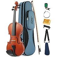 Eastar EVA-1 Full-Size 4/4 Violin Instrument For Beginner with Hard Case, Shoulder Rest, Bow, Rosin, Clip-on Tuner and Extra Strings