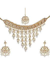 Beunew Traditional Kundan & White Pearls Choker Jhalar Necklace WithTika Set For Girls And Women (Beunew 481)