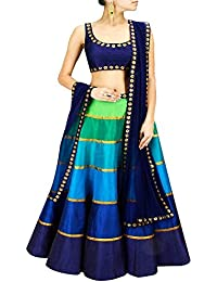 S R Fashion Women's Banglori Silk Semi-Stitched Lehnega Choli