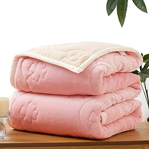 XQXCoperta a tre strati invernali fodera in cotone ispessita coperta doppio strato di tappeti Casual , pink , 150cmx200cm