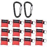 cymax 12morceaux CPR Masque avec mousqueton Masque Cpr Respi Chiffon de Key Masque respiratoire Porte-clés SANISMART aide d'urgence Sac masque Première Aide, Red