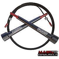 Comba de Saltar Crossfit de velocidad - cable de acero ligero - cuerda negra con longitud ajustable - para el entrenamiento y calentamiento, boxeo y otros deportes + Bolsa Y Guía de instrucciones