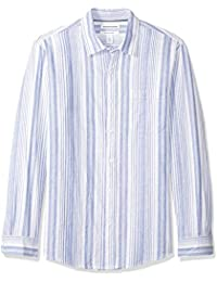 Amazon Essentials - Camisa regular de lino a cuadros con manga larga para hombre