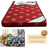 """Story @ Home Floral Pattern Foam Material Single Size Mattress (72"""" X 35"""" X 4"""") With Free Single Cotton Bedsheet With 1 Pillow Covers, Maroon"""