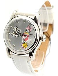 Disney Damenuhr silber Automatikuhr Daisy Duck Lederband Strass DI-094491-D38-W