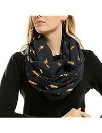 Squarex doux bronzante Plume d impression cou Foulard écharpes de  silencieux pour femme, bleu marine,… b47fe2f88b2