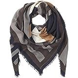 Becksöndergaard Quadratischer Damen Winter-Schal und Dreiecks-Tuch Aurora mehrfarbig grau ( light grey ) weicher Wolle-Kaschmir-Mix 140x140 cm - 1607667001-007