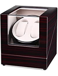 INTEY Watch Winder, Automatic Watch Winder 2 Watches, Box with Quiet Motor and Wood Shell, Battery Powered or AC Adapter, 4 Rotation Modes