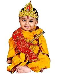 V3E Yellow krishna style kurta & dhoti dress for kids (Pack of 5-kurta,dhoti,bansuri,mukut,patka) - Niranjan