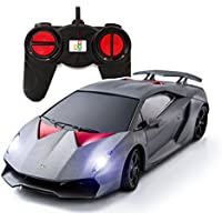 Price comparsion for PTL® Lamborghini Sesto Elemento Remote Control Cars with Working Lights, PL619 1:24 Licensed Electric Radio Controlled RC Cars for Kids Top Popular Best Boys Girls Car Toys, RTR Silver/Black
