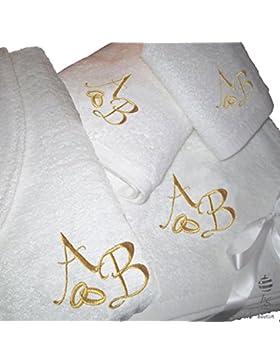 5estrellas Top calidad personalizada Regalo de boda aniversario–Juego de toallas de baño y albornoz con bordado...