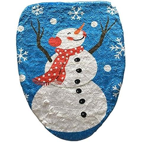 XJoel Feliz Navidad del muñeco de nieve de Santa del baño cubierta de asiento de baño para las decoraciones de Navidad
