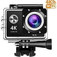 4K Action Camera, 16MP WIFI Ultra HD Underwater Waterproof 30M Sports Camcorder with 170° Degree Wide Angle Lens, 1 Rechargeable Batteries and Mounting Accessories Kits
