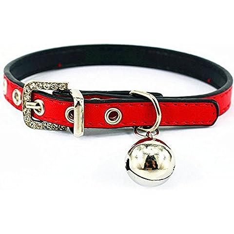Generic-Custodia in pelle Crystal Pet Collari con campanelli per gatti, per bambini, motivo: cucciolo di cane, Rosso, XS Size/7