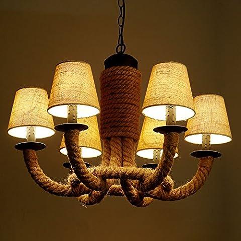 Retro della corda di canapa Ciondolo lampada soggiorno corridoio lampadari