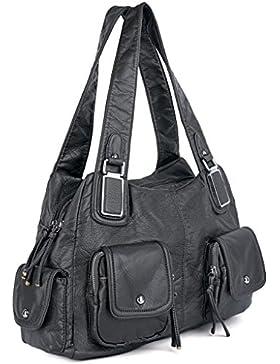 UTO Damen Handtasche PU Leder Multi Fächer gewaschen Schultertasche