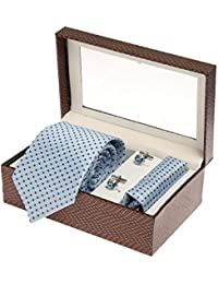 Sir Michele Designer Sky Blue Micro Silk Tie, Pocketsquare and Cufflink Set