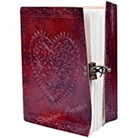 Last DAY - SALE Clearance 2019! Large Embossed Heart Journal Vintage Notebook Handmade Diary, Feat: Coptic Binding and Vintage Brass Lock, Free Shipping