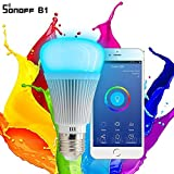 2018 Version (Latest Stock) , Sonoff B1: Dimmable E27 LED Lamp RGB Color Light Bulb _ Work With Amazon Alexa , And Nest Thermostat (For Home Automation)+ FREE E27 To B22 Adapter To Fit In Indian Holder.