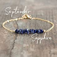 Raw Sapphire Bracelet, September Birthstone Jewelry, Gift for Women