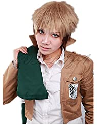 COSPLAZA Perruque Anime Cosplay Wigs Jean Kirstein Attack on Titan courte brune Cheveux