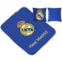 Real Madrid CF Manta Escudo Multiusos + Cojín Azul 130 x ...