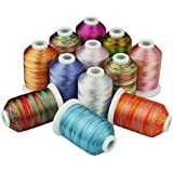Simthreads 12 Multicolore Polyester Broderie Bobines Fil, 1000M / canette