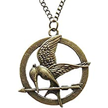The Hunger Games Mocking Jay Collana in bronzo antico Incisioni dettagliate su Mockingjay by The Hunger Games