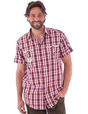 orbis Textil OS-Trachten Trachtenhemd Kurzarm Eddi Rot