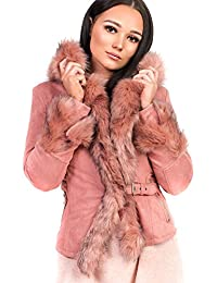 Ikrush Womens Tamsin Faux Suede Fur Jacket