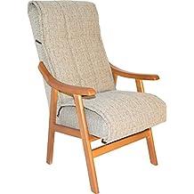 silln de madera maciza color cerezo y tapizado agua arena claro para saln comedor o dormitorio