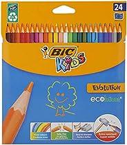 BIC Kids Evolution ECOlutions Crayons de Couleur - Coloris Assortis, Etui Carton de 24