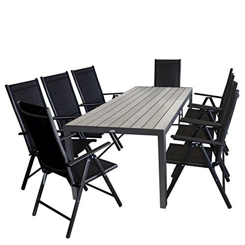 9tlg. Gartengarnitur Aluminium Gartentisch, Tischplatte Polywood grau, 205x90cm + 8x Aluminium Hochlehner, Textilenbespannung, Rückenlehne in 7 Positionen verstellbar, schwarz - Gartenmöbel Set Sitzgarnitur Sitzgruppe