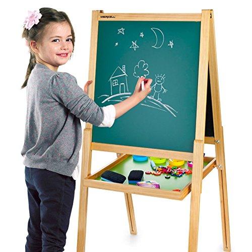 Preisvergleich Produktbild Merkell Standkindertafel Schreibtafel Maltafel Kindertafel Standtafel Holz + ZUBEHÖR magnetisch 108 Teile