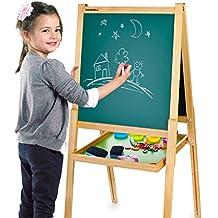 Merkell Lavagna per bambini 2 in 1 Lavagna per dipingere Lavagna magnetica in Legno compresi accessori oltre 100 pezzi giocattoli educativi