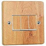 stika.co Aufkleber für Lichtschalter, Holzoptik, für Crabtree 4173 Tripple