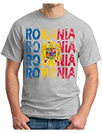 OM3 - ROMANIA - T-Shirt RUMÄNIEN EM 2016 FRANKREICH FRANCE FUSSBALL FANSHIRT SOCCER SPORT TRIKOT EUROPAMEISTER, S - 5XL