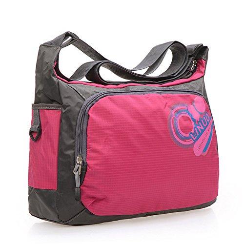 Genda 2Archer Nylon kleine einzelne Umhängetasche Wandern Camping Reisen Messenger Tasche (Rot) Rose