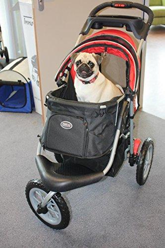 "InnoPet Hundebuggy Hundewagen Hundekinderwagen ""Comfort EFA"" – hochwertig stabil schwarz rot klappbar - 4"