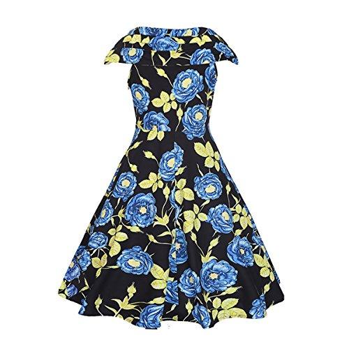 Dissa RC886 femme 50's Audrey Hepburn rétro Robe de soirée Cocktail,Robe de Bal Bleu