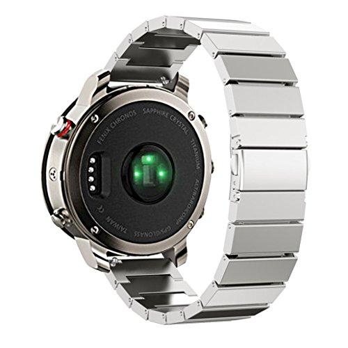 22mm Uhrenarmband Edelstahl, happytop Ersatz Band Wrist Strap für GARMIN FENIX Chronos S silber -