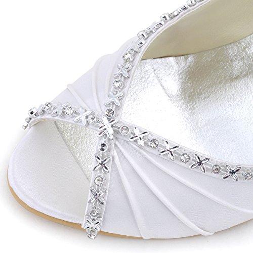 ElegantPark EP2094 Donna Peep Toe Pieghe Strass Tacco Alto Raso Scarpe Da Sera Scarpe Da Ballo Bianco