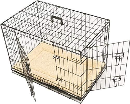 Maxx - Gabbia per cane con 2 porte d\'ingresso, pieghevole e trasportabile, con maniglia e vassoio