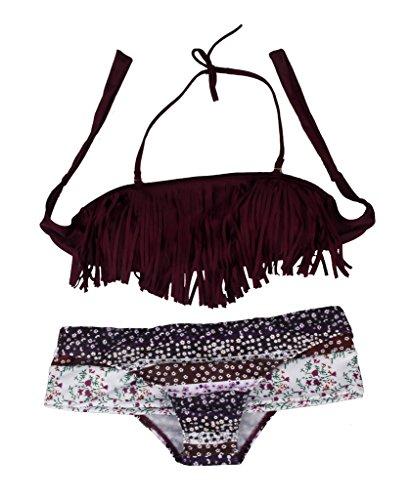 DODOING Sexy Strand Damen Bandeau Bikini Push Up mit Quaste Set Badeanzug Bademode Tops und Bottoms (Bhs Fringe)