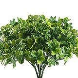 Nahuaa Künstliche Pflanzen 4 Stücke Kunststoff Stäucher Plastikblumen grün Eukalyptus Pflanze für Draußen Balkon Hochzeit Deko Wohnung