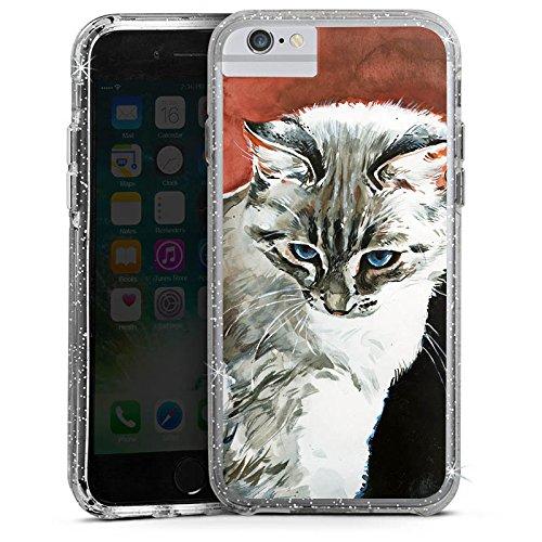 Apple iPhone 7 Bumper Hülle Bumper Case Glitzer Hülle Cat Katze Kitty Bumper Case Glitzer silber